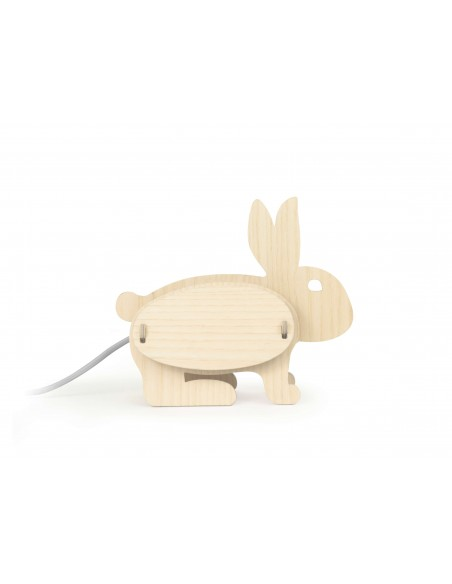 Rabbit design kid lamp in wood made in France ZOO Gone's
