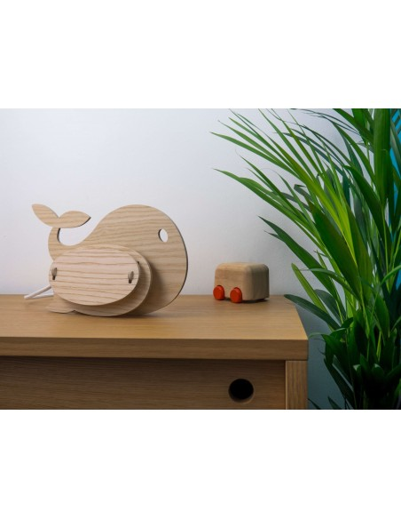Kids wood whale lamp made in France Gone's ZOO Gone's