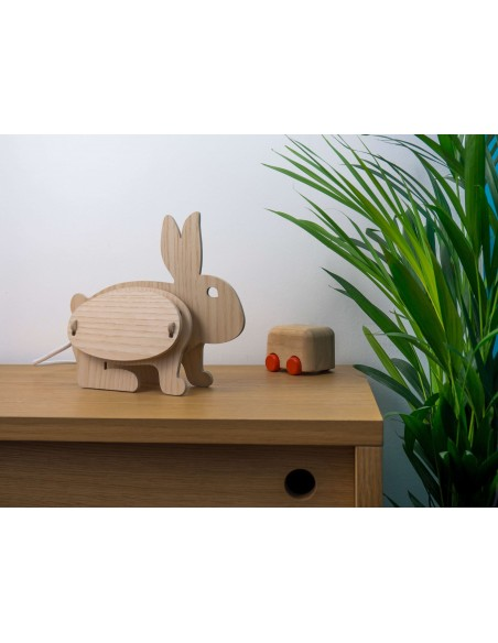 Ecological original rabbit design kid lamp in wood made in France ZOO Gone's