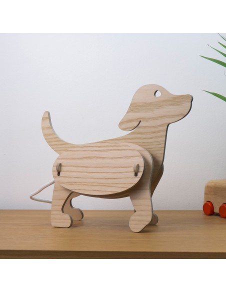 Lampe design original en bois enfant chien made in France ZOO Gone's