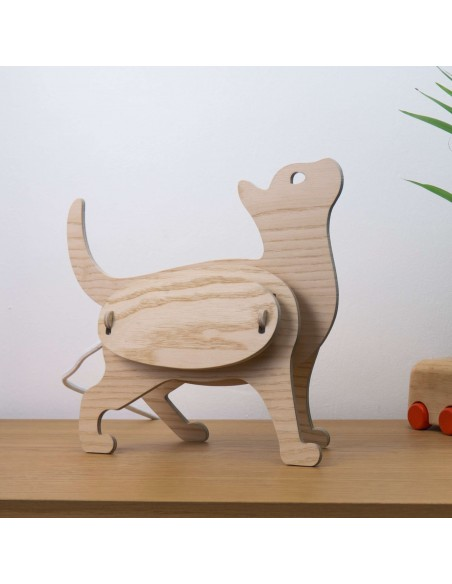Cat kids lamp in wood ZOO made in France Gone's
