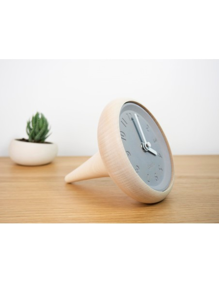 Concrete and maple wood design clock TOUPIE made in France
