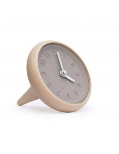 Concrete and wood clock TOUPIE white made in France