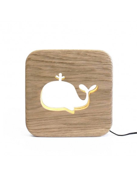 Original led animal whale design oak wood nightlight made in France Gone's
