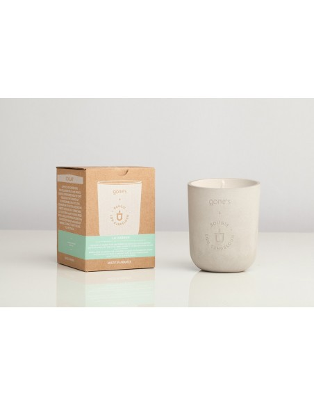Scented candle mineral ecological concrete pot made in France Marseille provence HA LONG Gone's Lou Candeloun