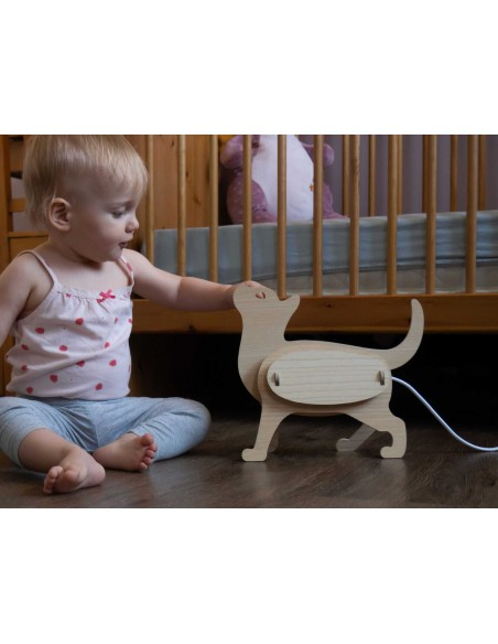 Cat child original design nightlight in wood ZOO