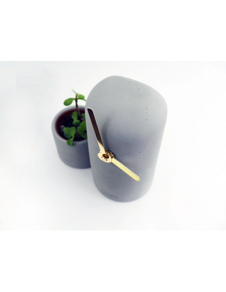 Design concrete ecological clock golden hands and cactus SILO made in France