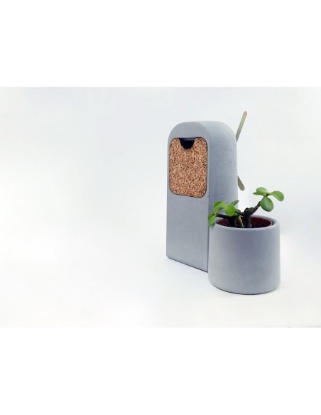 Concrete and cork ecological clock and cactus pot SILO made in France