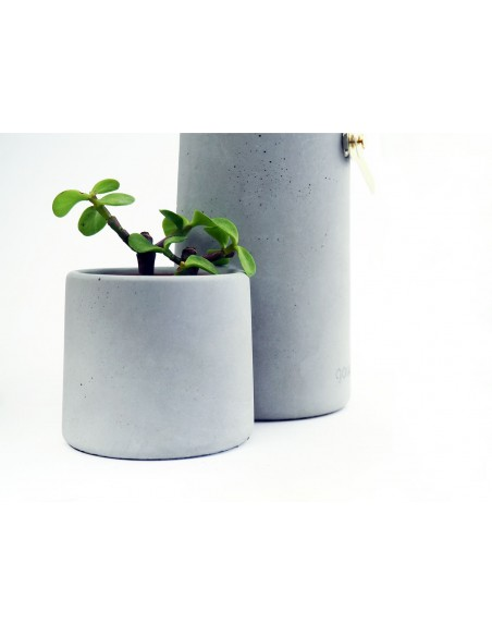 Concrete ecological clock and cactus pot SILO made in France