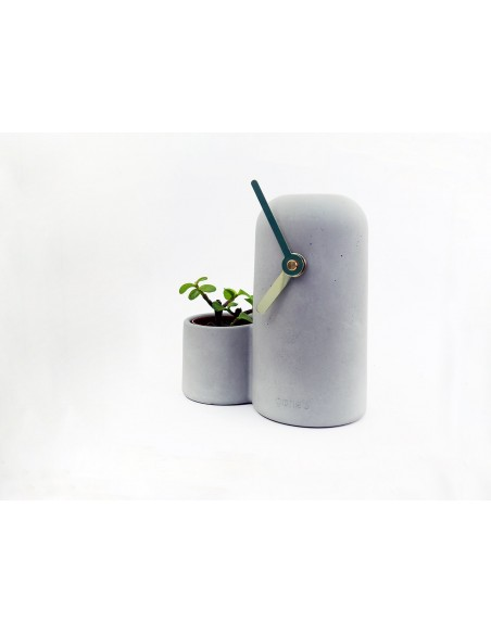 Concrete design mineral ecological clock golden hands and cactus SILO made in France