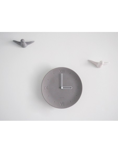 ANTAN concrete ecological design original clock made in France decoration white hands