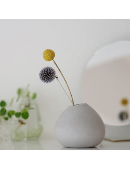 Concrete original stem vase flower pot in mineral ecological concrete BRUT made in France